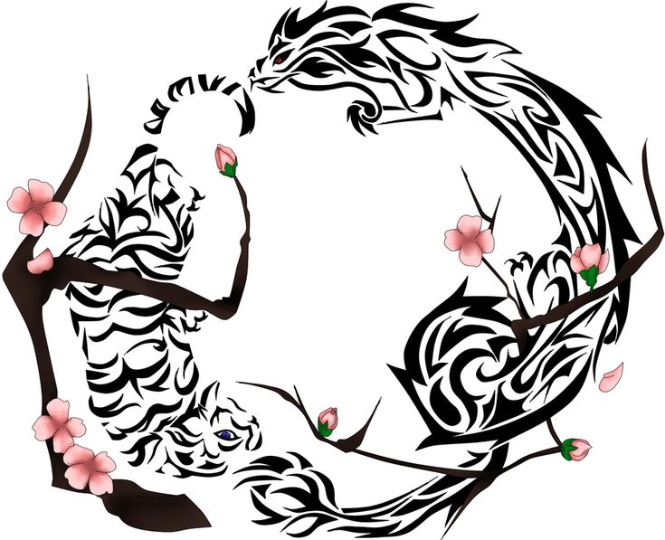 Tiger, Dragon, Cherry Blossom Tattoo~ by ~robinsfantasy on deviantART