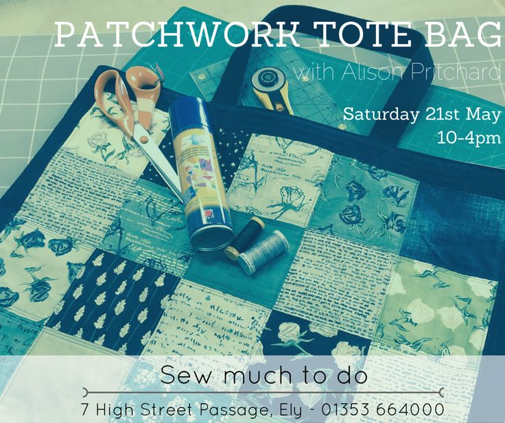 Perfect for those starting out in patchwork and quilting - plus you'll end up with a cool bag to fit all your sewing supplies. Call into Sew Much to Do to secure your place