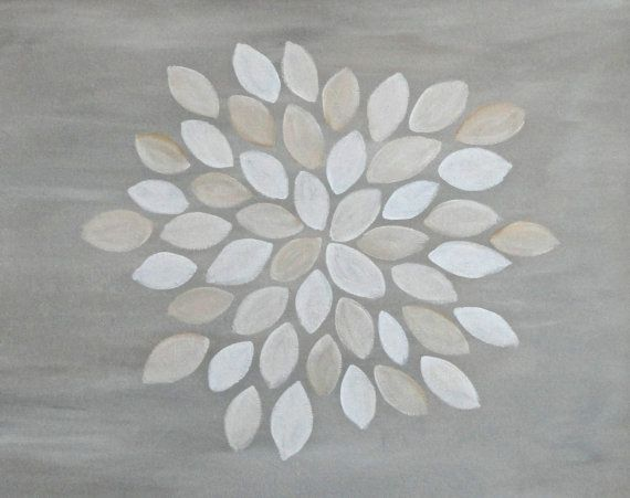 Silver Grey Painting - Neutral Modern Flower Art - Original 16x20 Canvas by Jessica Kime