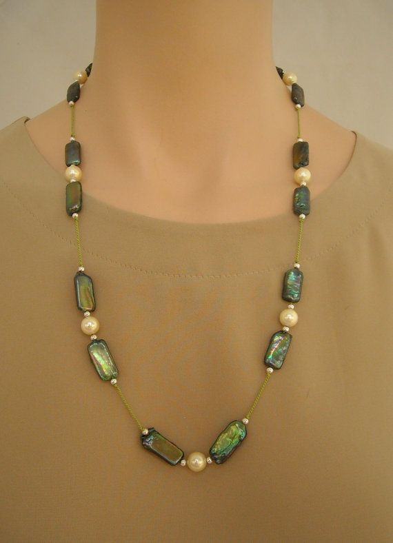 Iridescent green freshwater pearls cream shell by SilverSerenade, $35.00