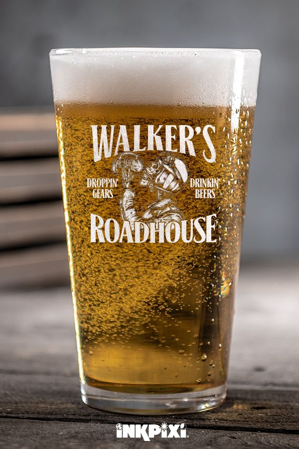 Roadhouse Clear Pint Glass Engraved Single Pint Glass