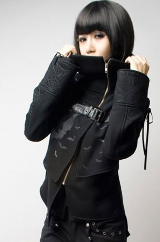 punk rave rock visual kei cosplay gothic jacket coat COOL fashion high collar