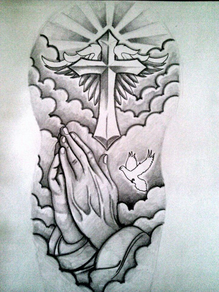Awesome Praying Hands And Cross Christian Tattoo