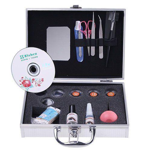 Eyelashes Extension Kit Glue False Loose EyeLash Lashes Makeup Set with Silver Box Case Salon Tool - http://fulleyelashextensions.com/eyelashes-extension-kit-glue-false-loose-eyelash-lashes-makeup-set-with-silver-box-case-salon-tool/