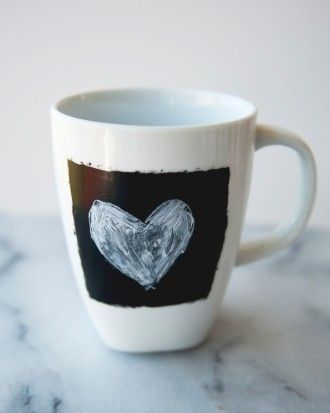 """See the """"Chalkboard Coffee Mugs"""" in our Bridal Shower Favor Ideas That You Can DIY gallery"""