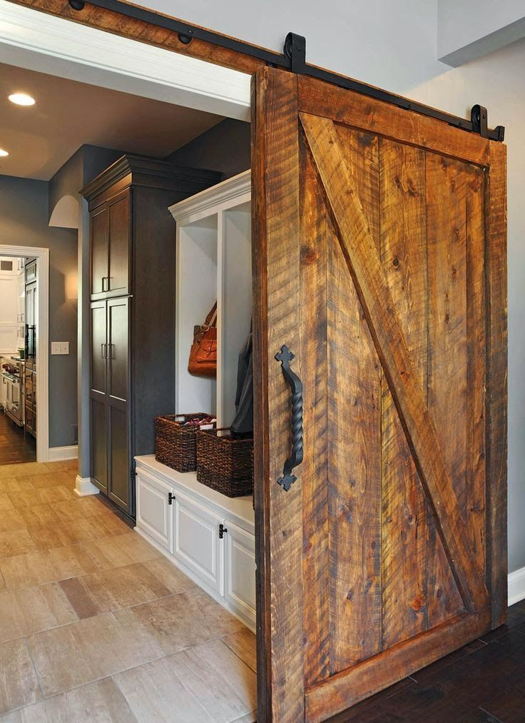 Sliding barn doors coastal charm kitchen renovation - How to make an interior sliding barn door ...