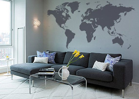 137''W world map wall decal Grey map decal by WorldMaps on Etsy