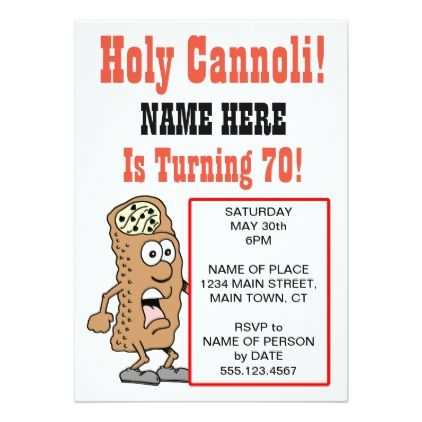 #Holy Cannoli Turning 70 Party Invitation - #birthdayinvitation #birthday #party #invitation #cool #parties #invitations