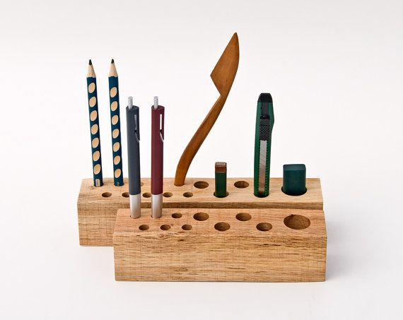 Wooden Desk Organizer Pen Holder Pencil Holder By Lessandmore