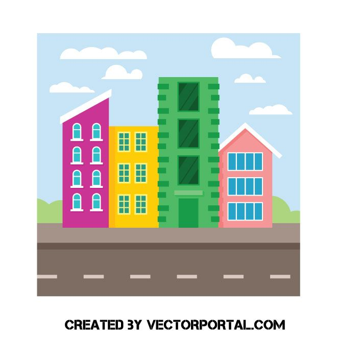 Colorful Buildings Vector Image Vector Images Colourful Buildings Free Vector Images