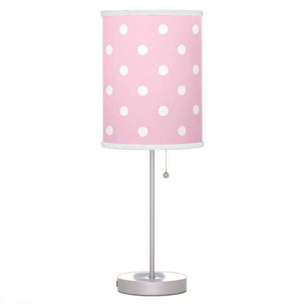 Cute Pink Polka Dot Girls Bedroom Table Lamp Zazzle Com In 2020 Candy Room Table Lamps For Bedroom Pink Lamp