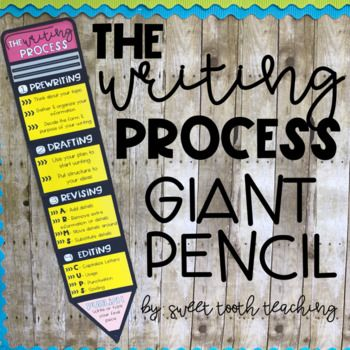 This giant pencil poster is the perfect addition to your writing bulletin board! Includes the 5 steps of the writing process:-Prewriting-Drafting-Revising (2 versions)-Editing (2 versions)-PublishingSimply print each page, cut, and tape each piece together for a large display. :)