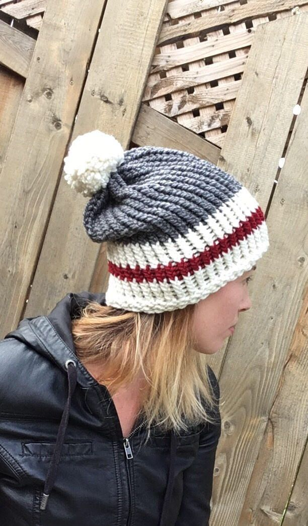 Canadian Inspired roots Pom Pom Slouchy Hat by AJacksBoutique on Etsy https://www.etsy.com/ca/listing/553558542/canadian-inspired-roots-pom-pom-slouchy