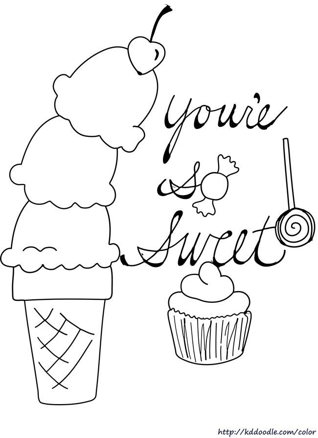 free printable coloring page by kddoodle featuring sweets for your sweetie ice cream coloring pagescoloring