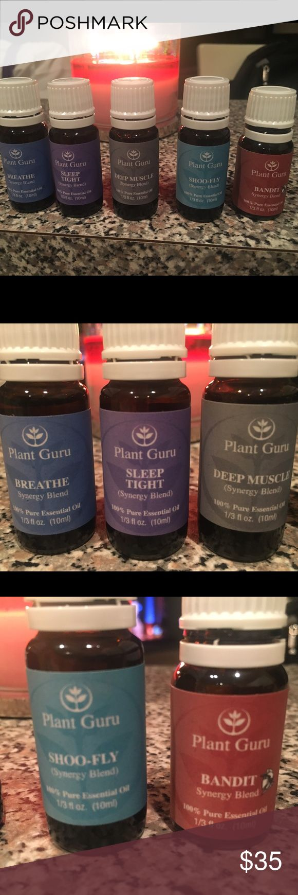 Plant Guru 100% Essential Oils 5 different essential oil blends, all seals have been broken but not a single drop has been used, just smelled them and never ended up using them. Each are 10ml. One is a respiratory blend to help you breathe (similar to Doterra Breathe), Sleep tight mimics Doterra Serenity, also oils to naturally keep bugs and mosquitos away, a tense muscle relaxer, and Bandit which is a blend of cloves and other oils great for diffusing! Price firm. Plant Guru Other