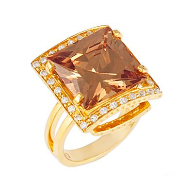 Amber Square Ring