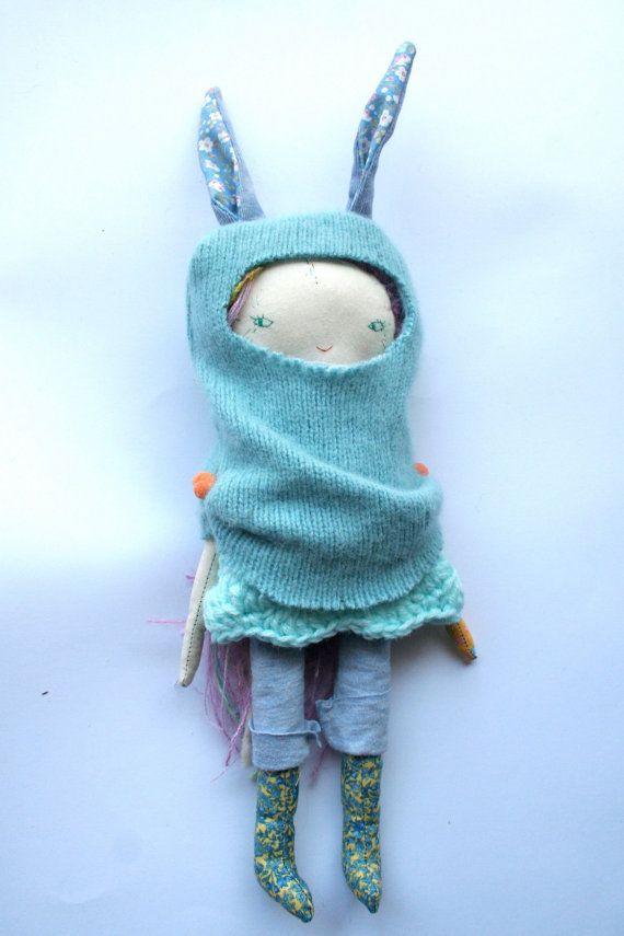 pale blue rabbit little lu doll 12 cloth doll rag by humbletoys