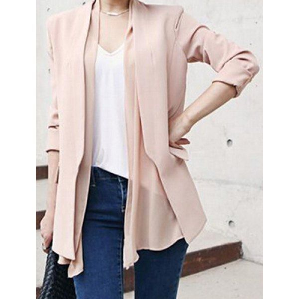 TwinkleDeals.com Stylish Collarless Long Sleeve Solid Color Chiffon Women's Blazer