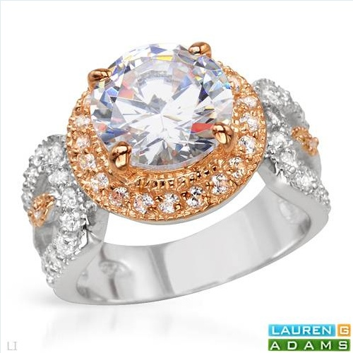 $30.00  LAUREN G. ADAMS Dazzling Brand New Solitaire Plus Ring With 7.65ctw Cubic zirconia Beautifully Designed in 14K/925 Gold plated Silver. Total item weight 7.7g - Size 7 - Certificate Available.