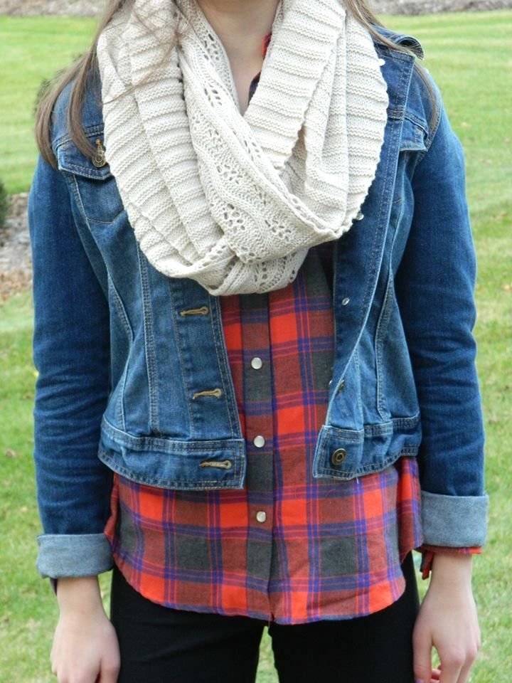 Fall outfit: scarf, jean jacket, flannel shirt, leggings.