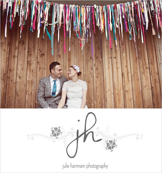We could do streamers/ribbons in rainbow colors like this so that all we would have to do is hang one long rope. Will save time the day of the wedding!