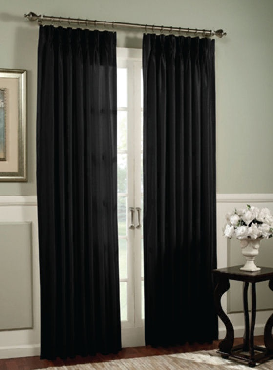 Black pin tuck window treatment from Bed Bath and Beyond