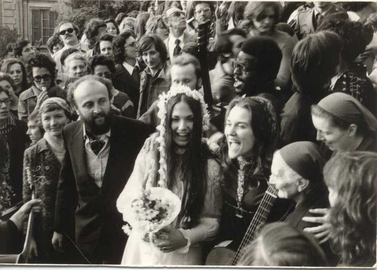 "Queen Rachel (""Barbara Kaliher Canevaro"") and Emanuele Canevaro the Duke of Zoagli both members of the Children of God on their wedding day along with Faith Berg Simon Black and the Little Sisters of Jesus. Rome Italy. April 22 1973. [896x643]"