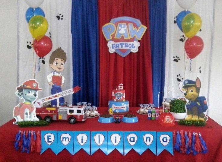 Paw patrol fiesta ni o decoracion mesa de pastel - Decoracion cumpleanos nino ...