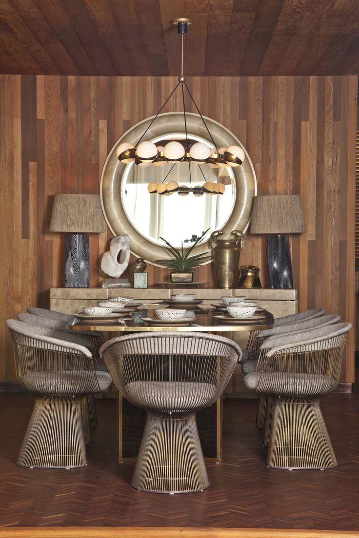 Kelly Wearstler Residential #Platner chairs #gold table #mirror.