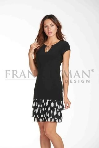 Frank Lyman 2017. Cute ruffle hem dress with silver embellished keyhole front. Proudly Made in Canada