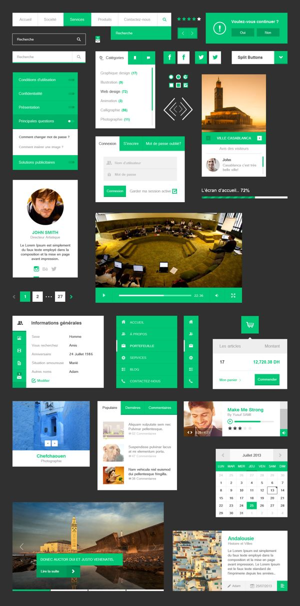 Free Flat UI Kit by Wahib El Younssi, via Behance