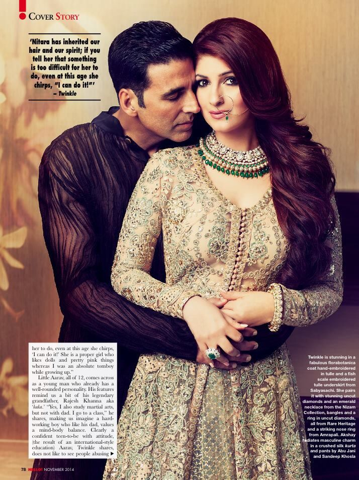 Twinkle Khanna and Akshay Kumar. Twinkle wears a pretty anarkali and statement necklace and nose ring.