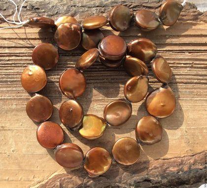 Для украшений ручной работы. Ярмарка Мастеров - ручная работа. Купить Жемчуг 13 - 15 мм монета бронзовый натуральный бусины для украшений. Handmade.