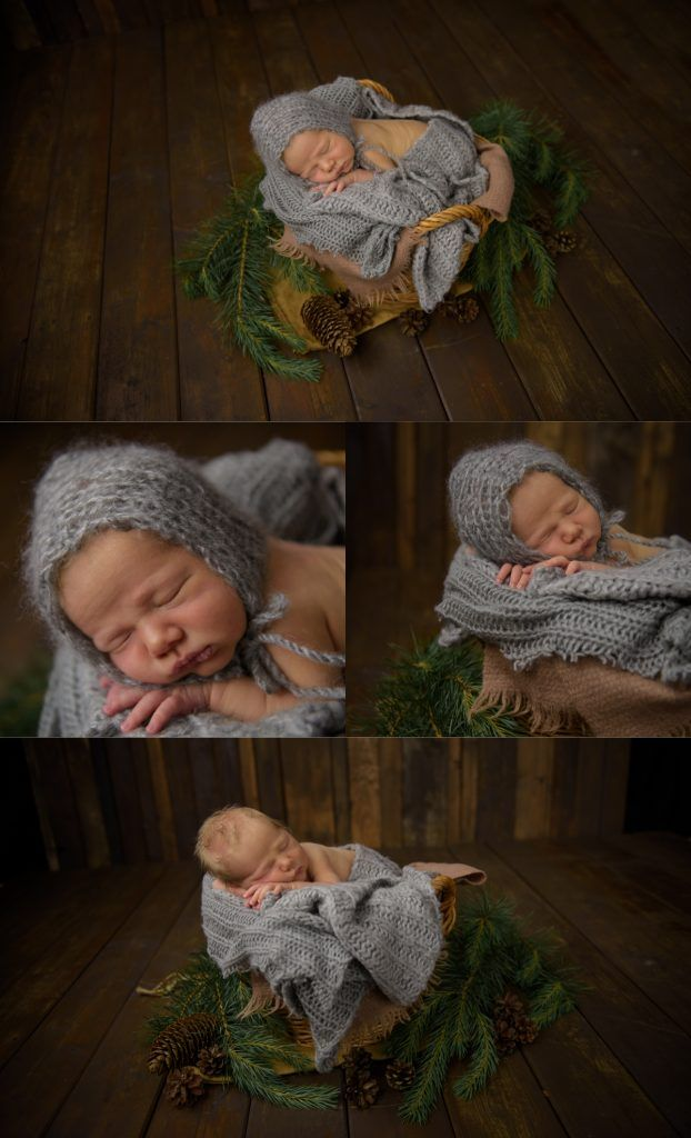 Newborn photography by Swedish photographer Maria Lindberg. Newborn props. Baby in a bascet. Nyföddfotografering av Fotograf Maria Lindberg.