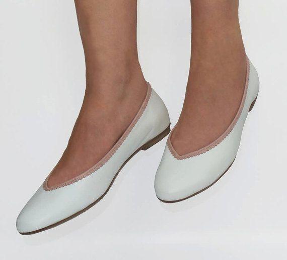 White shoes Bridal shoes Bridal shoes flats by LoulouBallerina