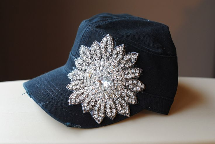 Womens Cadet Hat Trucker Bling Rhinestone Gray Mesh and Shabby Chic Hat Distressed Military Style Hat  Flower Cap by Ebowsboutique on Etsy https://www.etsy.com/listing/203640500/womens-cadet-hat-trucker-bling  The owner of the shop put a poll up asking to choose between this hat and another hat, really? WHY? This hat is just BOMB! I want it now! GIMME THE HAT NO ONE GETS HURT!