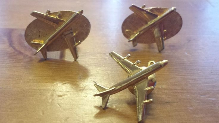 Vintage Brass, Airplane Theme Cuff Links and Neck Tie Pin #Cufflinks #Airplane #Vintage