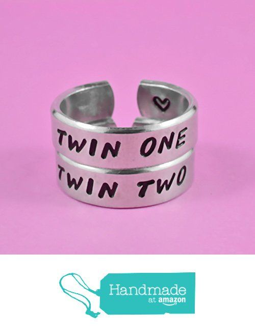 Twin One, Twin Two -- Hand Stamped Cuff Rings Set, Twin Sisters Matching Pair Rings, BFF Friendship Rings, Personalized Gift from Wonderful Stamping http://www.amazon.com/dp/B0198HTK4M/ref=hnd_sw_r_pi_dp_5RAEwb0CBY2V0 #handmadeatamazon
