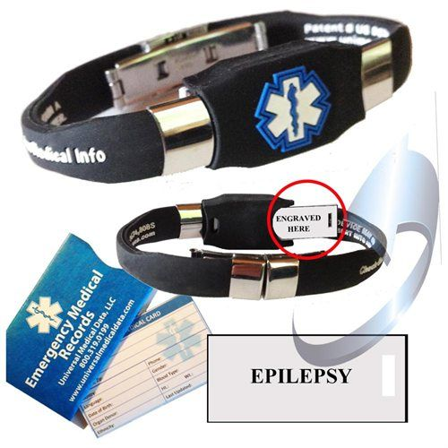 "Pre-engraved ""Epilepsy"" Medical Alert Bracelet. Waterproof Silicone With Acrylic Plate and Reverse Hide-Away Pocket - BLACK.  Choose from Diabetes, Coumadin, Blood Thinners, Seizures, Asthma, Pacemaker, Allergy and many more..."