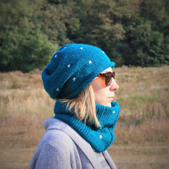 Women Hand Knitted 2 Set / Dark Cyan Slouchy Beanie  by RUKAMIshop