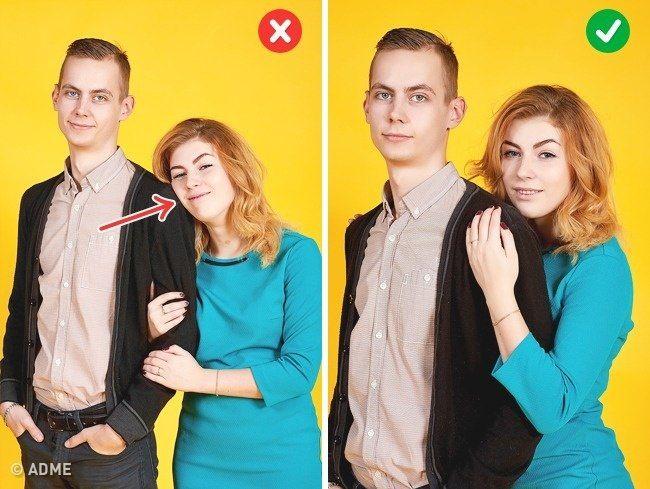 Прижимаясь к плечу. Фото4.   Лучше не класть голову на плечо партнера: из-за разницы в росте это часто выглядит нелепо. Встаньте немного сзади него и слегка прикоснитесь к плечу, помня об осанке и не прижимая лицо. Это выглядит более эстетично, а фигура зрительно станет тоньше.