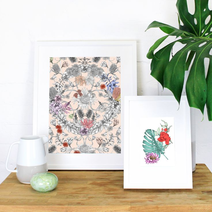 This hand illustrated work is a celebration of Australian native flora. Banksia's dance around the canvas with gum nuts and delicate bottlebrush creating a native wreath composition. Displaying both coloured and monotone elements, this artwork took over 120 hours to illustrate.
