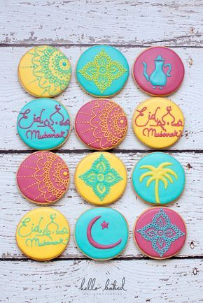 """an Arabic tea pot, palm trees, Eid Mubarak (a greeting meaning """"Blessed Celebration"""") and the crescent moon, which marks the beginning of each month, including Ramadan and the start of Eid al-Fitr"""