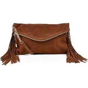 Accessorize Leather Fringe Across Body Bag