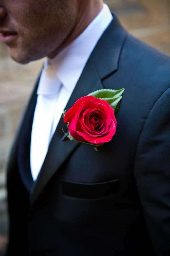 Mens red rose buttonhole