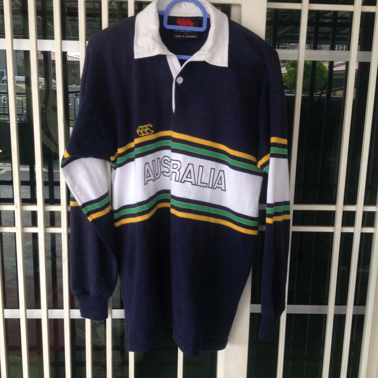 Vintage Canterbury rugby jersey polo shirt australia embroidery Small size by bintangclothingstore on Etsy https://www.etsy.com/listing/516871567/vintage-canterbury-rugby-jersey-polo