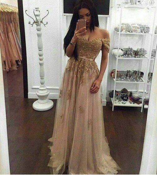 Off the shoulder Gold Prom Dress,Long Prom Dresses,Charming Prom Dresses,Evening Dress, Prom Gowns, Formal Women Dress,prom dress,F256