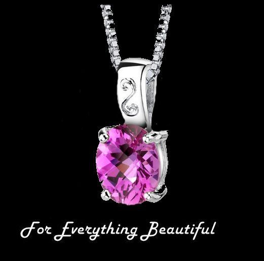 Pink Sapphire Oval Cut Simple Detail Sterling Silver Pendant