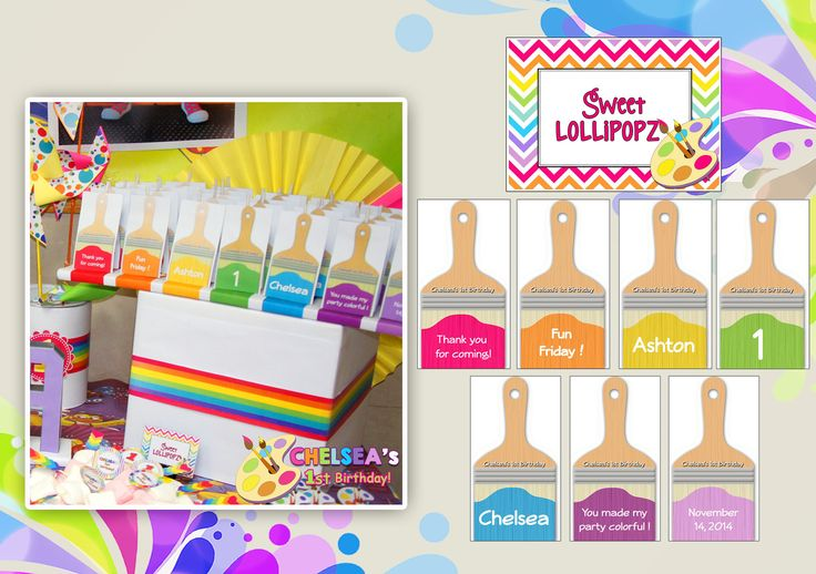 1st Birthday Party (Art Rainbow Party Theme)  Lollipop Cover