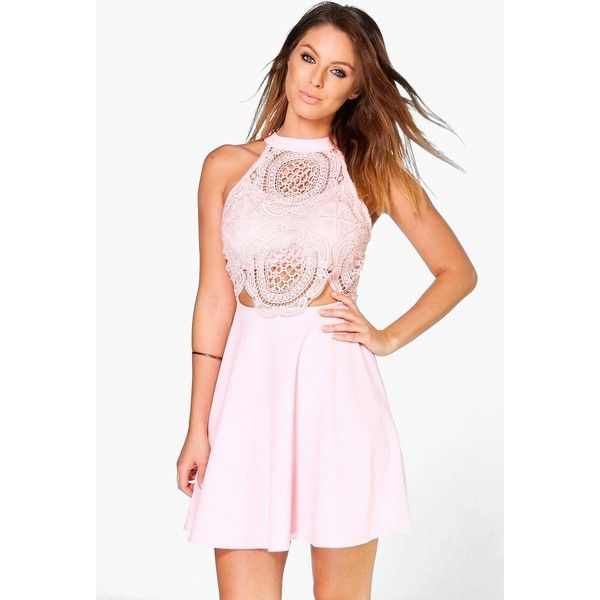 Boohoo Jenny Crochet Top Skater Dress ($40) ❤ liked on Polyvore featuring dresses, nude, layering cami, holiday dresses, pink evening dresses, nude dress and bodycon cocktail dress